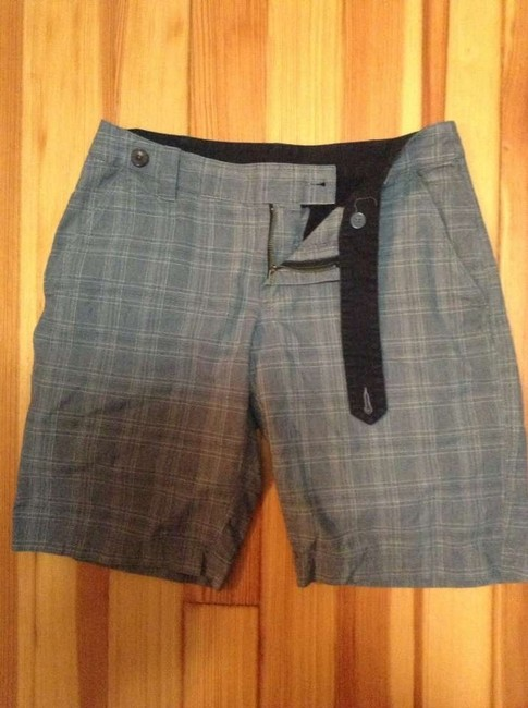 The North Face Activewear Hiking Bermuda Shorts Grey/ blue Pinstripe Plaid