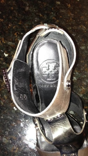 Tory Burch gray and silver Sandals