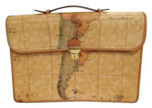 Alviero Martini 1a Classe Map Print Unisex Vintage Briefcase Laptop Bag