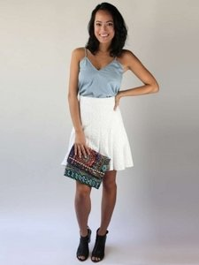 BCBGMAXAZRIA Mini Skirt White lace