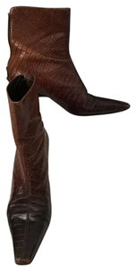 Via Spiga Dark Tricolor Embossed Aligator Leather Brown Boots