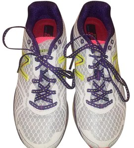 New Balance White/ neon yellow/ purple Athletic
