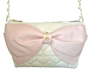 Betsey Johnson Quilted Heart Bone Pink Bow Cross Body Bag
