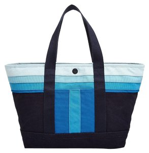Tory Burch Travel Canvas Tote Striped Blues Travel Bag