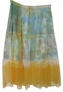 max mehra Mehra Collection Boho Tie Dye Tiered Skirt Multi