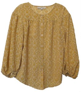 Ann Taylor LOFT Oversized Small Chiffon Top Mustard, Off-white