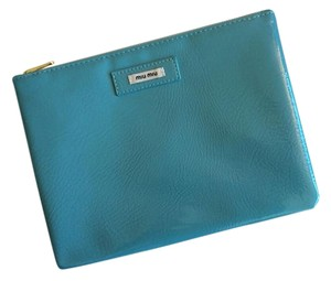 Miu Miu Miu Miu Teal Faux Leather Makeup Pouch Clutch Patent Cosmetics Bag