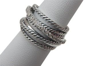 David Yurman Crossover Wide Ring With Diamonds - size 6