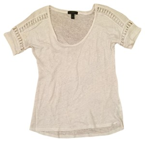 J.Crew Linen Embroidered Lace T Shirt White