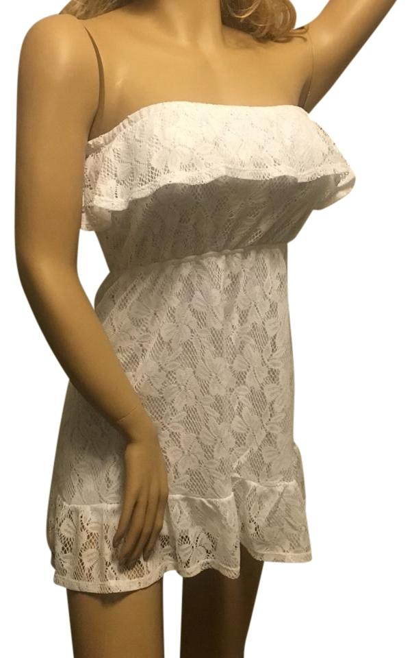 White Lace Strapless Dress