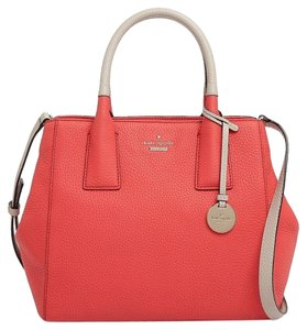 Kate Spade Leather Maddie Tote Pebbled Leather Satchel in Gerianum /Crisp Linen