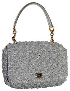 Dolce&Gabbana Raffia Metallic Wedding Evening Tote in Silver