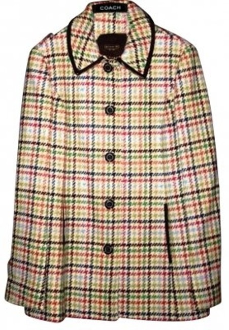 Item - Multi-colored Houndstooth Tattersall Coat Size 8 (M)