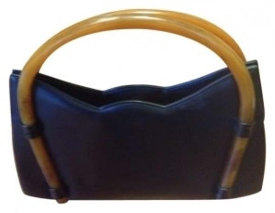 Preload https://item1.tradesy.com/images/unique-tortoiseshell-handle-black-faux-leather-clutch-191385-0-0.jpg?width=440&height=440