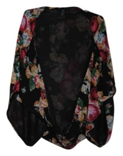 Preload https://item2.tradesy.com/images/forever-21-multicolored-poncho-kimono-black-red-flowers-tunic-size-8-m-191386-0-0.jpg?width=400&height=650
