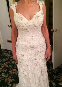Jovani Ivory Floral Lace Embellished with Crystal and Tiny Pearls 2180 Feminine Wedding Dress Size 10 (M)