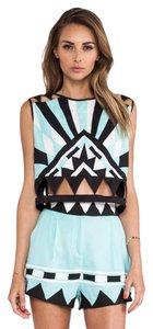 Mara Hoffman Crop Cut-out Aztec Sleeveless Multi Top Multi (Blk/Wht/Mint)