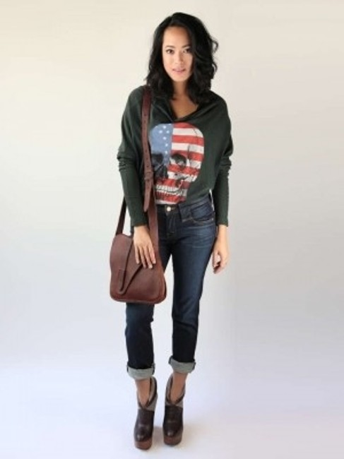Wildfox T Shirt Olive Green