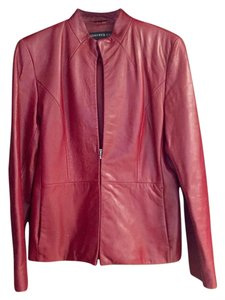 Kenneth Cole Leather Maroon Leather Jacket