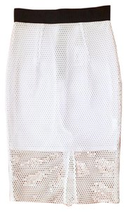 MILLY Lasercut Cut-out Pencil Skirt White