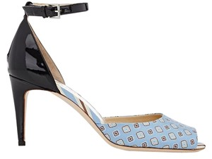 Philosophy di Lorenzo Serafini Jacquard Print Patent Leather Ankle Strap Leather Sole Blue Multi & Black Sandals