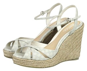 Gucci Leather Wedge White 9022 Platforms