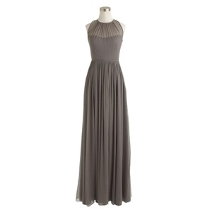 J.Crew Graphite Megan Long Dress In Silk Chiffon Dress