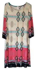 Dia short dress Cream with multicolored design on Tradesy