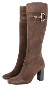 Gucci Suede Leather Heel Knee Brown Boots