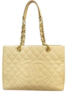 Chanel Caviar Gst Grand Shopping Medium Tote in Bisque