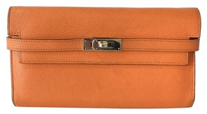 Hermès Hermes Orange Chevre Kelly Longue Wallet