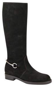 Gucci Suede Flat Tall Knee Dark Brown 2140 Boots