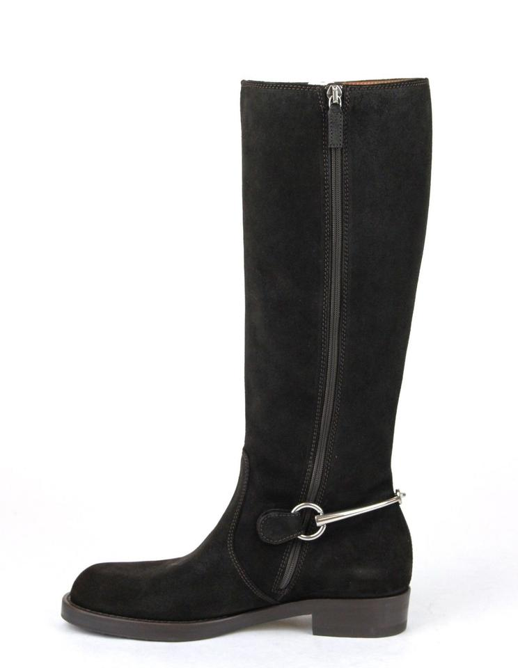 3f1943d456a5d Gucci Dark Brown 2140 Horsebit Suede Flat Tall Knee W Metal 38 Us 8 354004  Boots Booties