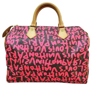 Louis Vuitton Lv Graffiti Speedy 30 Canvas Tote in Brown&neon Pink