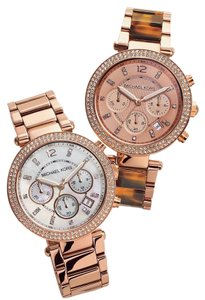 Michael Kors MICHAEL KORS Rose Gold Crystal Tortoiseshell Chronograph Watch