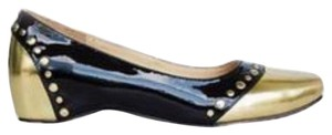 Christian Louboutin Patent Black and Gold Leather Mousse Clou Flats Gold Black Flats