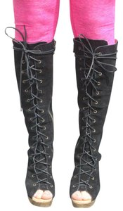 Jeffrey Campbell Lace Up Black Boots