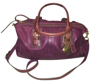 Coach Leather Leather Leather Satchel in plum