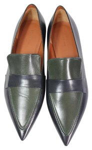 Céline Loafer Pointed Toe Fall Leather Navy blue green Flats