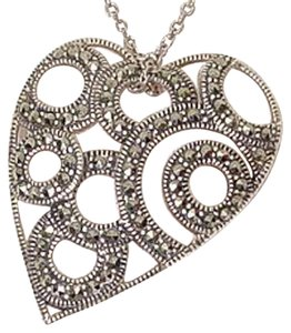 Judith Jack Sterling Silver Marcasite Circle Heart Necklace