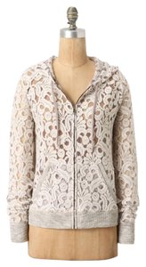 Anthropologie Eloise Zip Up Lace Hoodie taupe Jacket