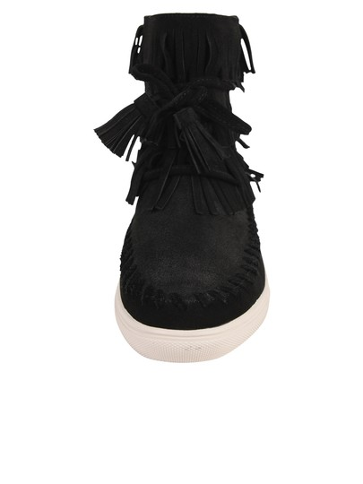Vince Camuto New With Tags Fringe Suede Black Flats Image 2