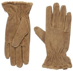 Isotoner Brown Suede Gathered Wrist Microluxe Lined Womens Gloves M