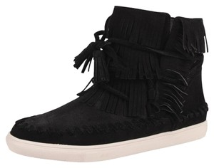 Vince Camuto New With Tags Nwt Fringe Suede Black Flats