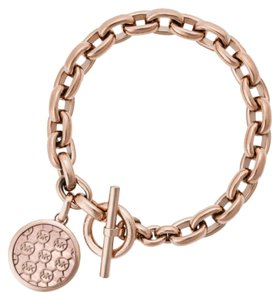 Michael Kors Michael Kors MKJ5366791 MOP Logo Disc Rose Gold Toggle Chain Bracelet