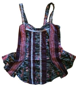 Free People Cami Corset Style Top Gray, burgundy, pink multi