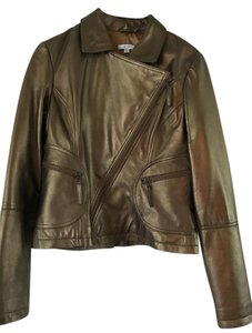 Cache Motorcycle Fall Large bronze gold metallic Leather Jacket