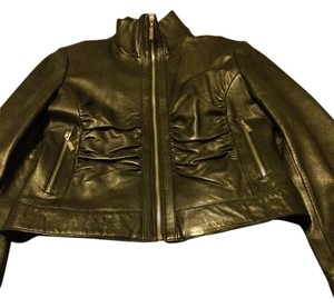 Un Deux Trois Black Leather Jacket
