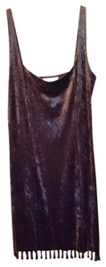 Hugo Buscati Snakeskin Velvet Beaded Fringe Hem Dress