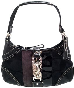 Coach Dog Latch Jacquard Leather Baguette